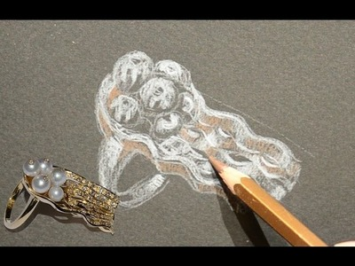 From the design to the realization, 18kt gold ring, drawing of jellyfish.