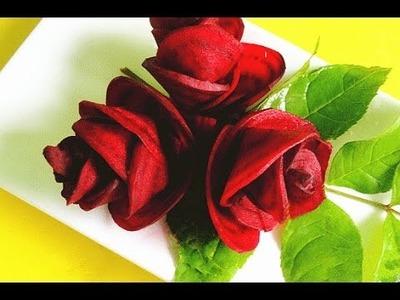 How to Make Red Rose Beet Flower | Vegetable Carving Garnish | Sushi Garnish | Food Decoration