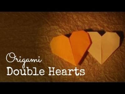Origami double hearts tutorial