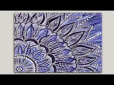 Painted Mandala Doodle Acrylic Painting on Canvas Part 2 of 2