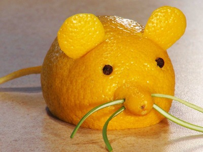 Simple fruit carving. Fruit carving for kids. A Lemon Mouse.