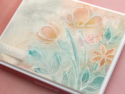 Soft Watercolor with Heat Embossed Flowers