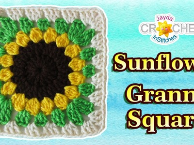 Sunflower Granny Square Crochet - Pattern Tutorial & How To
