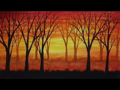 Sunset and Trees Painting - Watercolour Painting