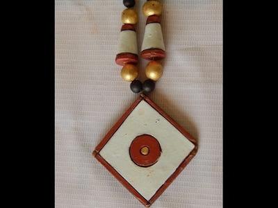 Terracotta Jewellery  How to make stylish geometric Terracotta pendent