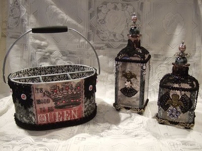 Tresors de Luxe DT Project - Altered Bottles & Tool Caddy