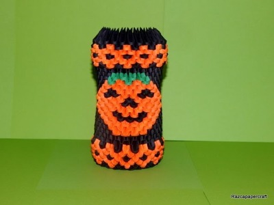 3D origami Halloween pen holder tutorial