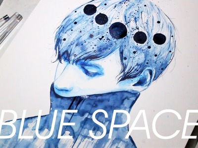 BLUE SPACE [Watercolor painting]