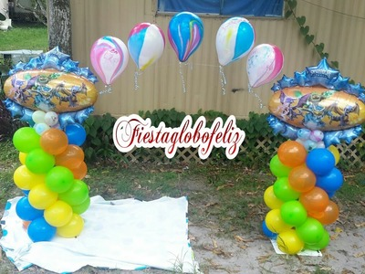Como hacer un arco de skylanders hecho con globos_how to make a arc made with balloons skylanders