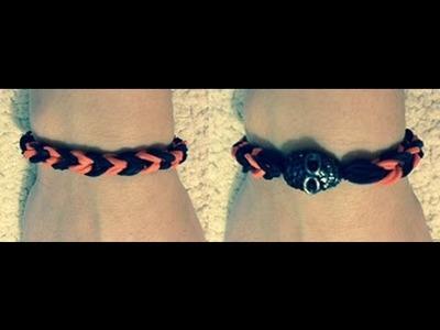 DIY Fishtail braid Halloween rubber band bracelet