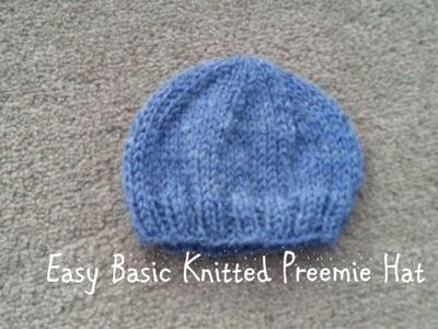 Easy Basic Knitted Preemie Hat