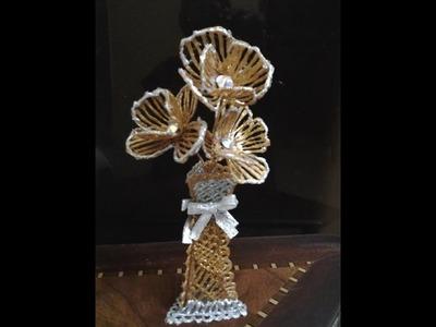 Hot Glue Art - Flower Vase with Flowers