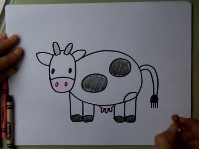 How to Draw a Cow - Cartoon Drawing Tutorial - for kids and adults - beginner, easy.