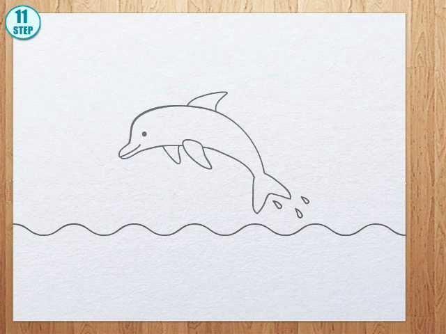 Простой рисунок дельфина