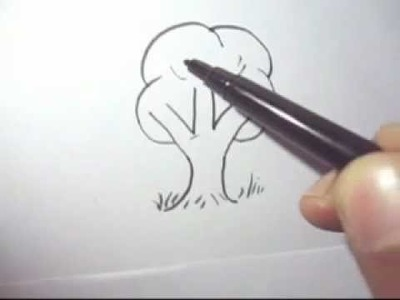 How to draw a tree fast and simple steps