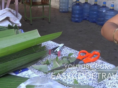 Making flower decoration from Banana leaves