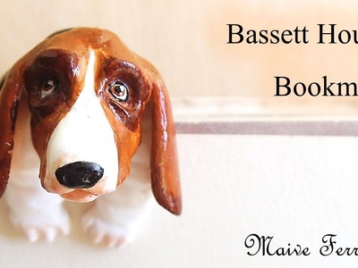 Mini Polymer Clay Basset Hound Dog Bookmark.Reading Companion Tutorial