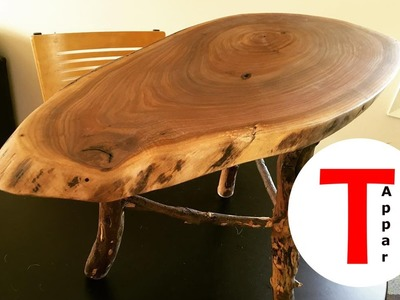 Rustic Live Edge Walnut Coffee.End Table with Applewood Legs