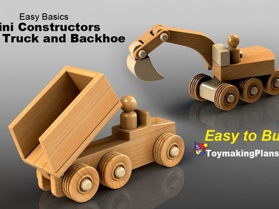 Wood Toy Plans - Mini Dump Truck and Backhoe