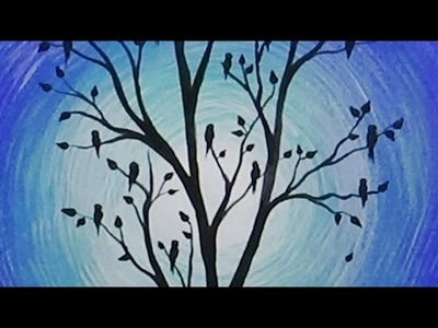 Acrylic Painting Birds in a Birch Tree Silhouette Painting