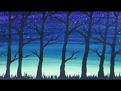 Acrylic Painting - Simple Trees Silhouette