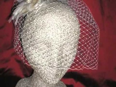 Champagne Birdcage Veils and Bridal Fascinators & Headpieces by EllenMarieDesign.com