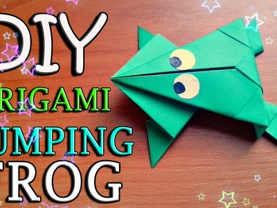 DIY How To Make Easy Origami Toy. Jumping Frog From Paper For Children. Craft Tutorial For Kids
