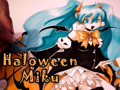 Drawing Halloween Hatsune Miku with Copic Markers