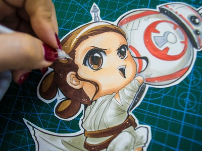 Drawing Rei and BB8 Chibi from Star Wars