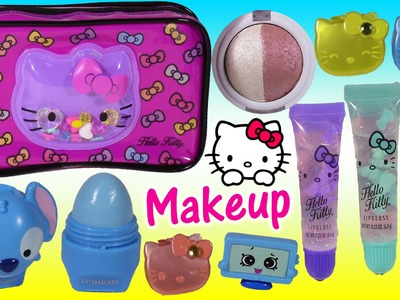 Hello Kitty Makeup Bag! LIP GLOSS Lip Smacker Eyeshadow SHOPKINS Disney Princess! Beauty FUN