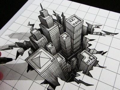 How to Draw a Hole: 3D City Optical Illusion