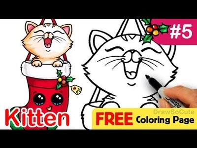 How to Draw Kitten in Christmas Stocking Cute step by step Holiday Special