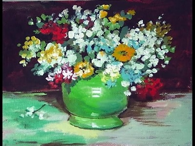 How to paint a Van Gogh Vase with zinnias and flowers 60 min. tutorial