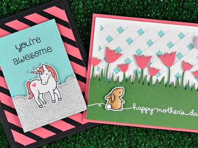 Intro to Stripey Backdrop & Flower Border + 2 cards from start to finish