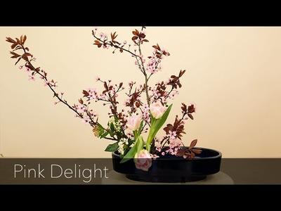 Pink Delight with prunus | Online Ikebana arrangement tutorial