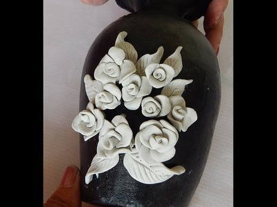 Pot painting how to make rose embossing