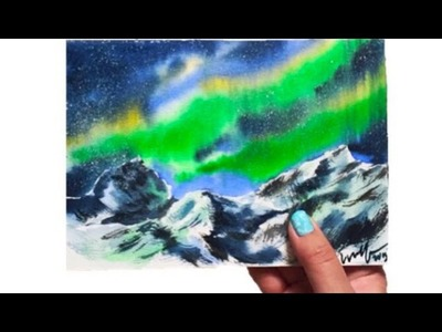 Watercolor Snow Mountains Under Northern Light Demonstration