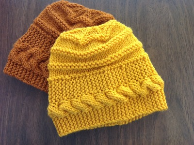 Banded Cable Hat w.Ridges