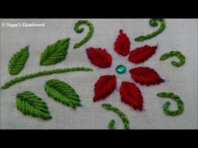 Fish Bone Stitch-Hand Embroidery Tutorials By Nagu's Handwork