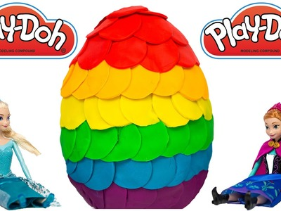 GIANT Play Doh Surprise Egg Rainbow Frozen Peppa Pig Shopkins My Little Pony Palace Pets