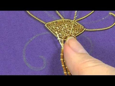 Goldwork embroidery tutorial. Part 4 - couching gold threads.