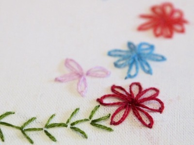 Lazy Daisy and Fern Stitch - Hand Embroidery Learn With Me Series
