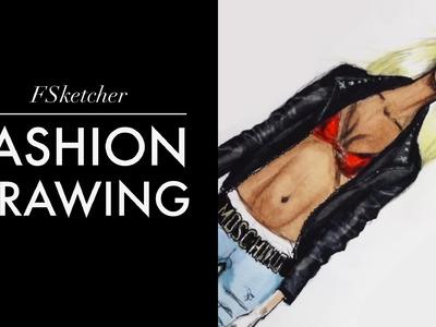 LEATHER MOTORBIKE JACKET   Fashion Drawing