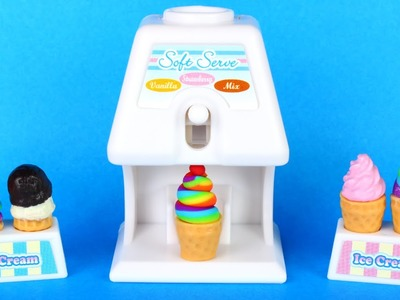 Mini Ice Cream Set with Rainbow Strawberry Chocolate Vanilla Ice Cream Cone and Bowl