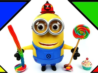 Minion Dave Eats a Rainbow Lollipop and Rainbow Licorice Candy Talks and Farts