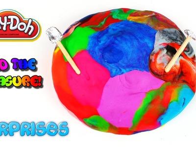 Play Doh Rainbow Treasure Hunt! Let's Dig! Digsite Surprise Excavation
