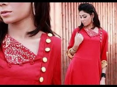 STYLISH KURTI NECKLINE - 1 - EASY CUTTING AND SEWING- DESIGN IT YOURSELF