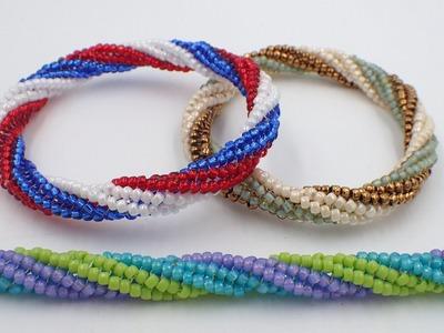 Tubular Twisted Herringbone Bangle Bracelet