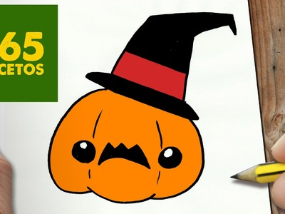 COMO DIBUJAR CALABAZA HALLOWEEN KAWAII PASO A PASO - Dibujos kawaii faciles - How to draw a PUMPKIN