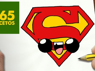 COMO DIBUJAR ESCUDO SUPERMAN KAWAII PASO A PASO - Dibujos kawaii faciles - draw a LOGO SUPERMAN